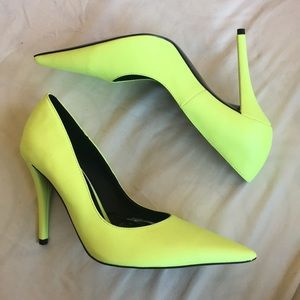 Zara Neon Pointy Toed Heels